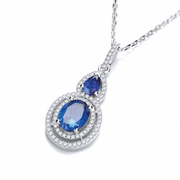 "J-Jaz Micro Pave' Sapphire & White Drop Pendant with 18"" Chain #2"
